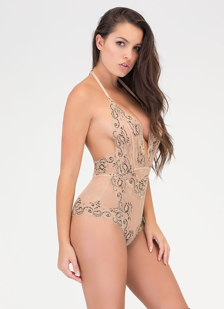 Swirls And Scallops Floral Lace Bodysuit