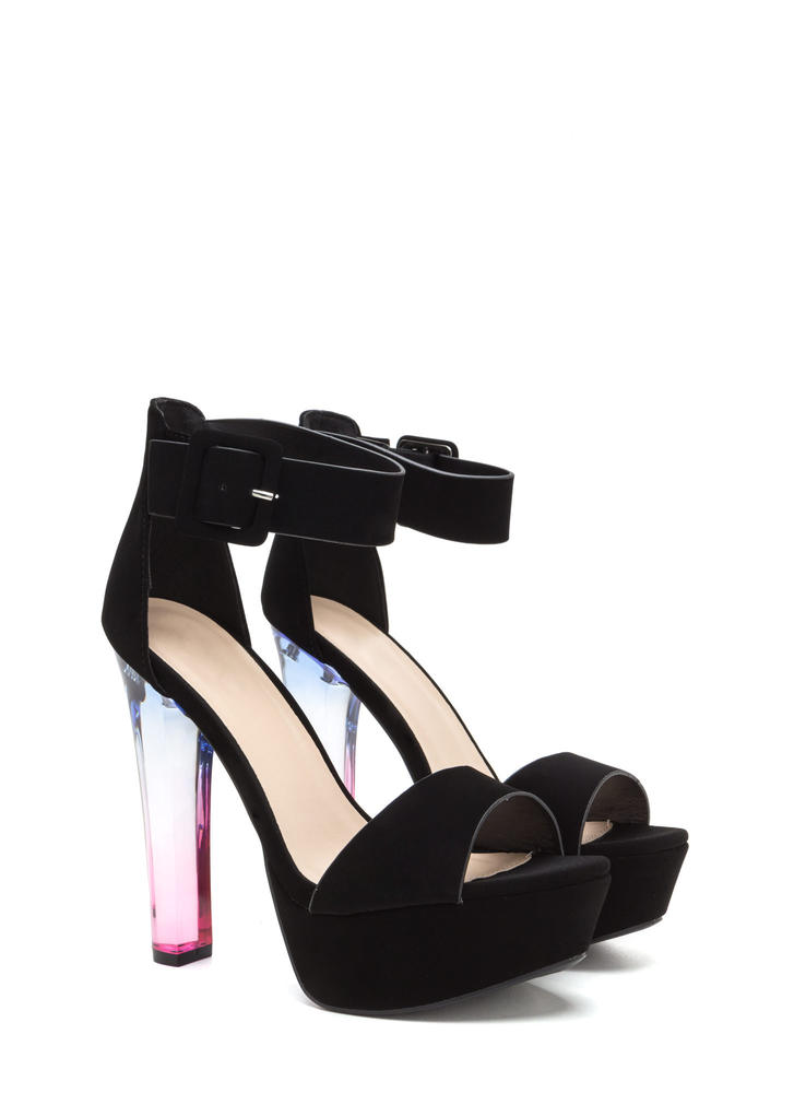 What A Trip Chunky Lucite Platforms BLACK