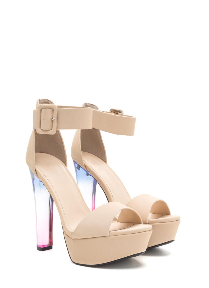 What A Trip Chunky Lucite Platforms NUDE