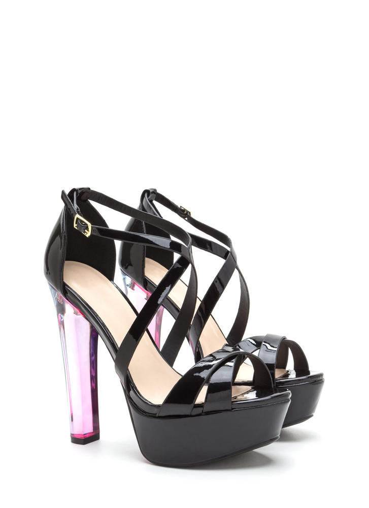What A Trip Faux Patent Lucite Heels BLACK