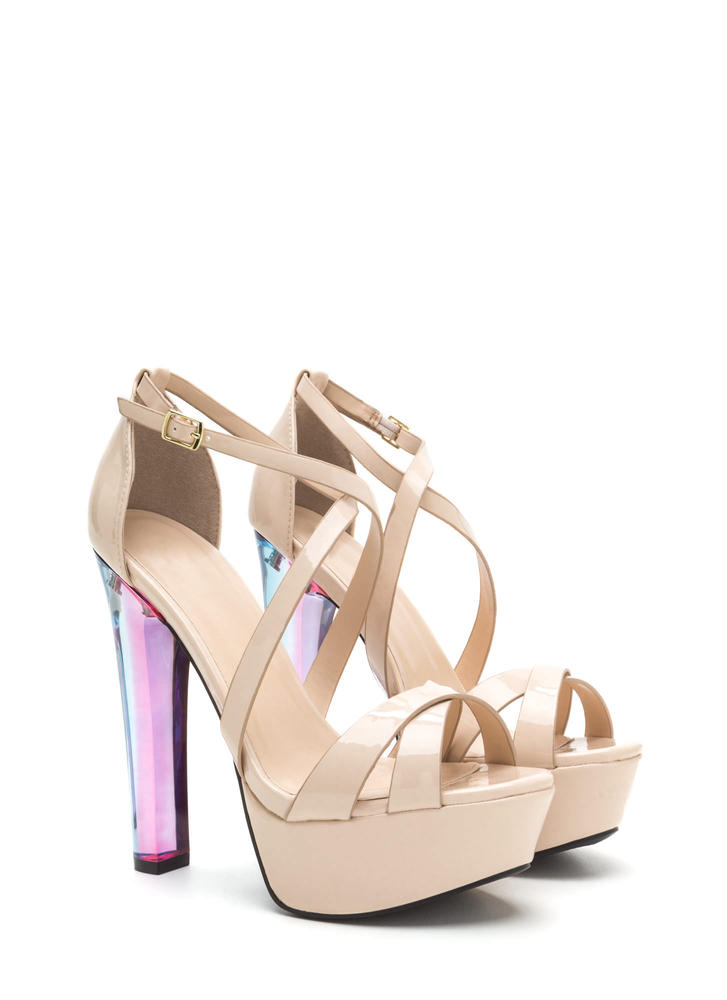 What A Trip Faux Patent Lucite Heels NUDE