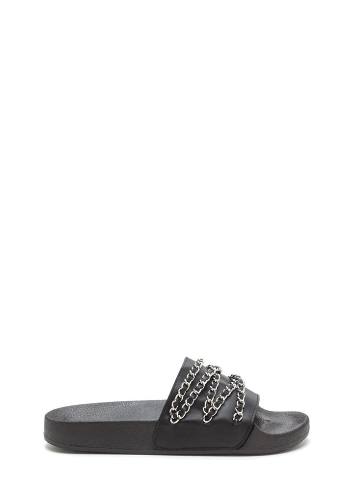 Chaining Day Faux Leather Slide Sandals BLACK