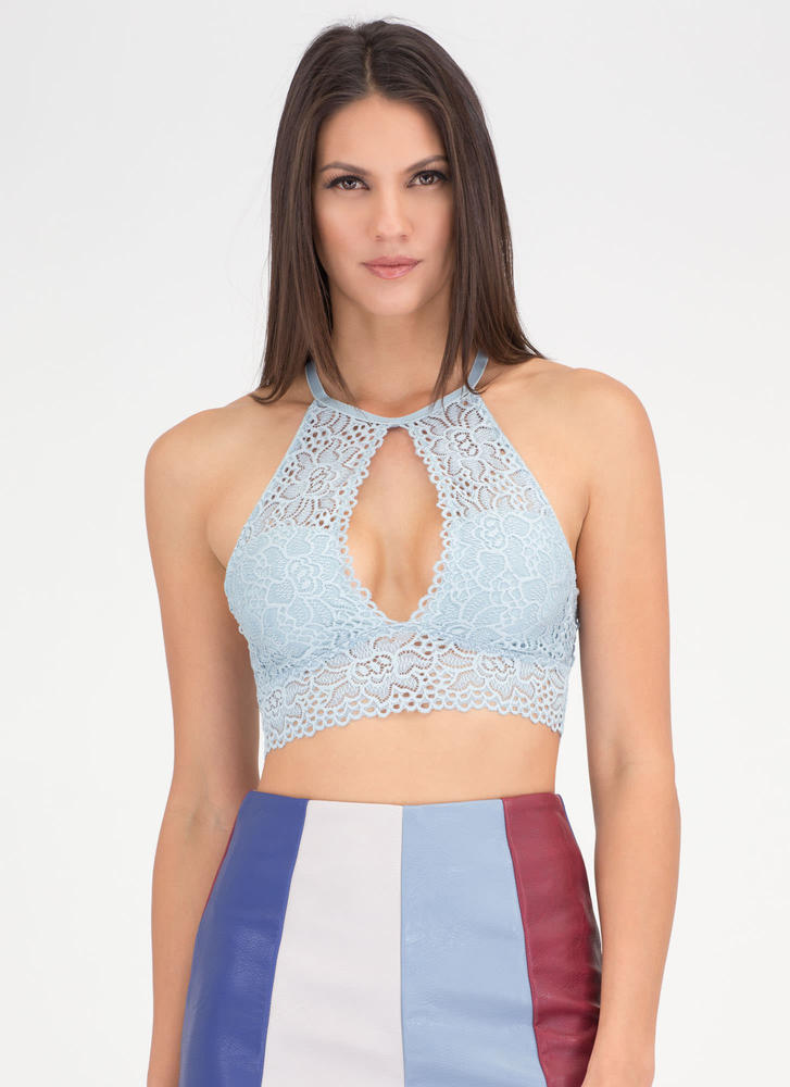 Keyhole To My Heart Lace Bralette BLUE