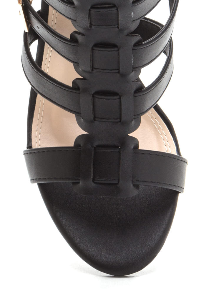Count Of Three Chunky Caged Heels BLACK