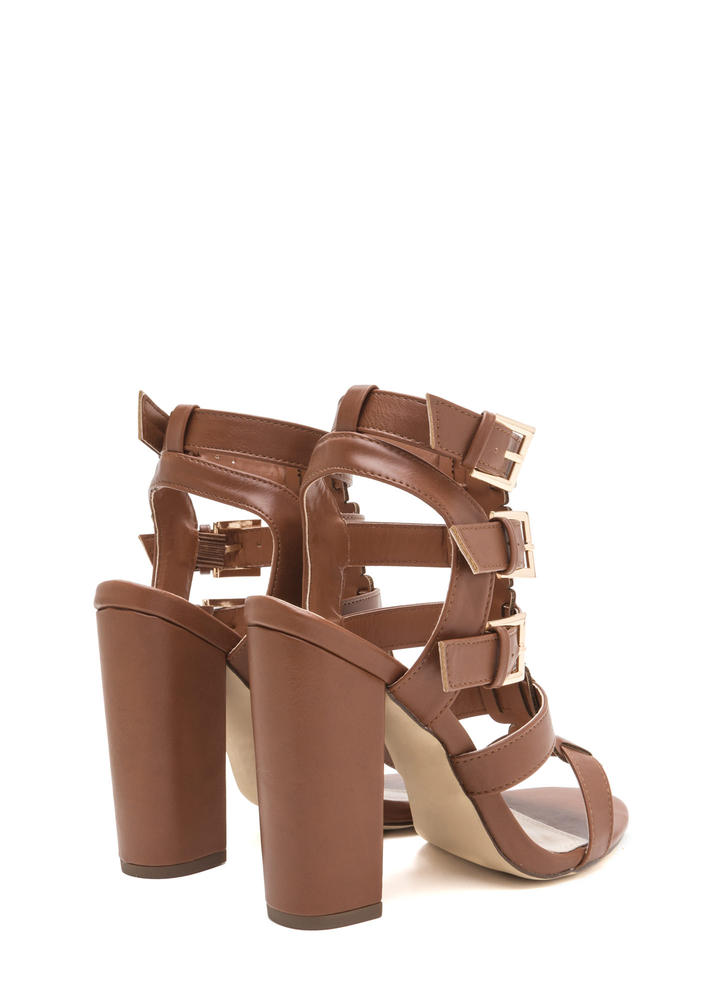 Count Of Three Chunky Caged Heels COGNAC