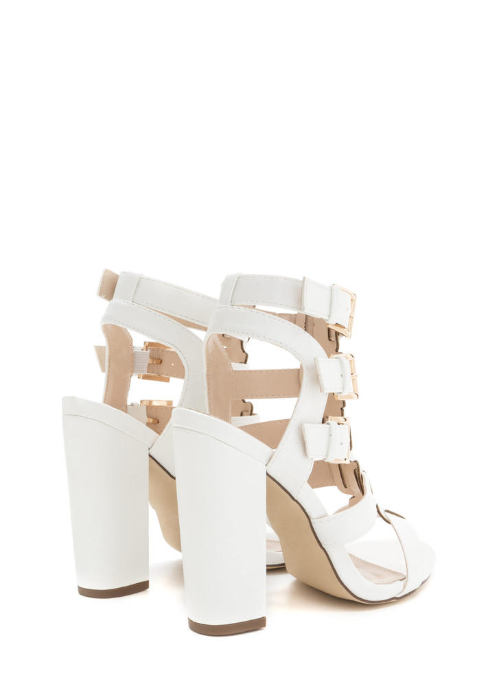 Count Of Three Chunky Caged Heels WHITE