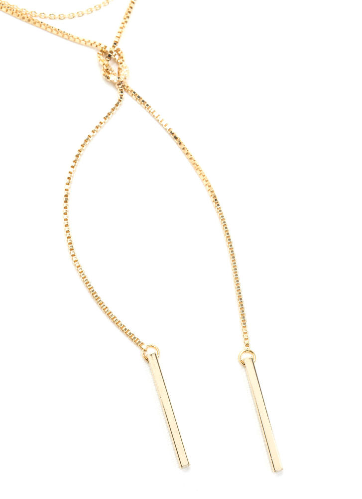 Can You Knot Bar Charm Chain Necklace GOLD