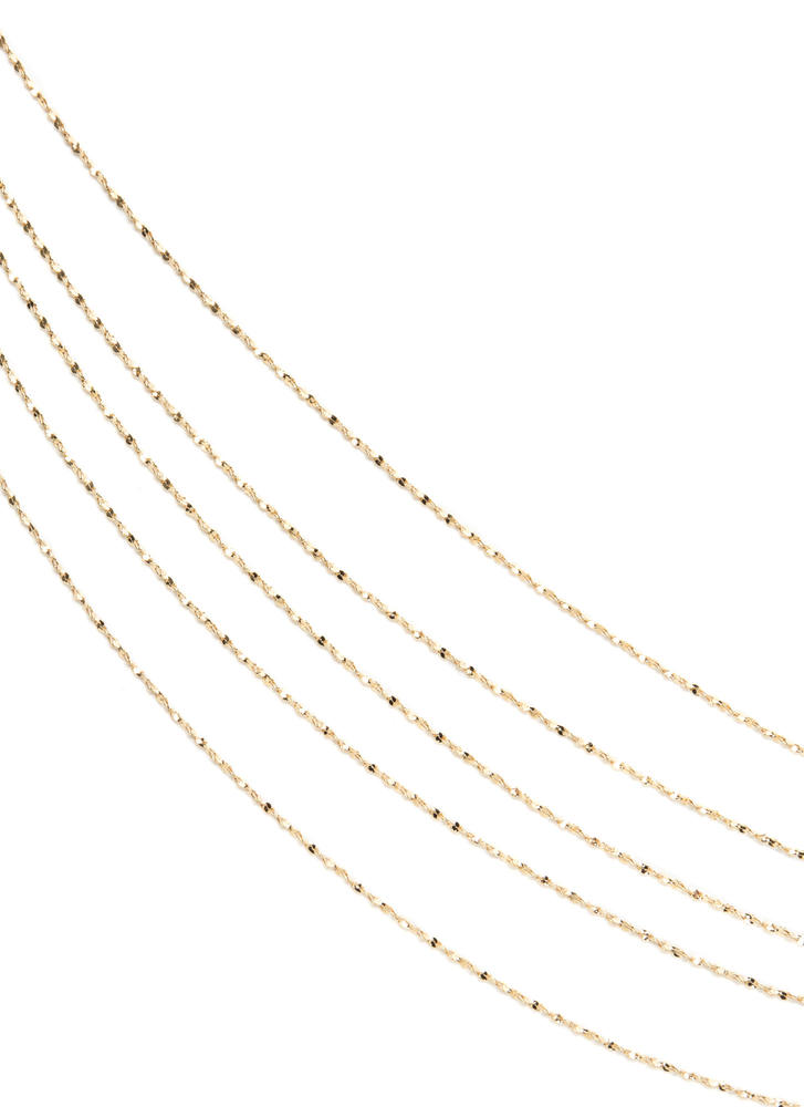 Gimme Five Layered Chain Necklace GOLD