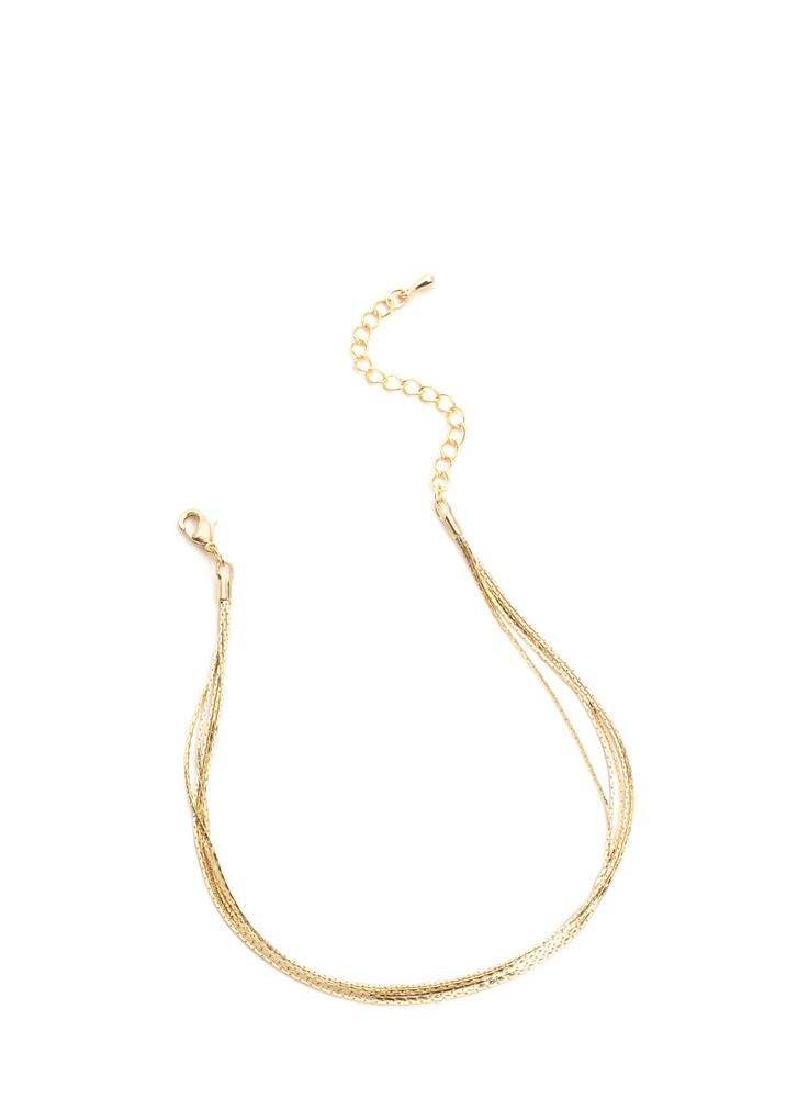 Thin The Moment Layered Chain Anklet GOLD