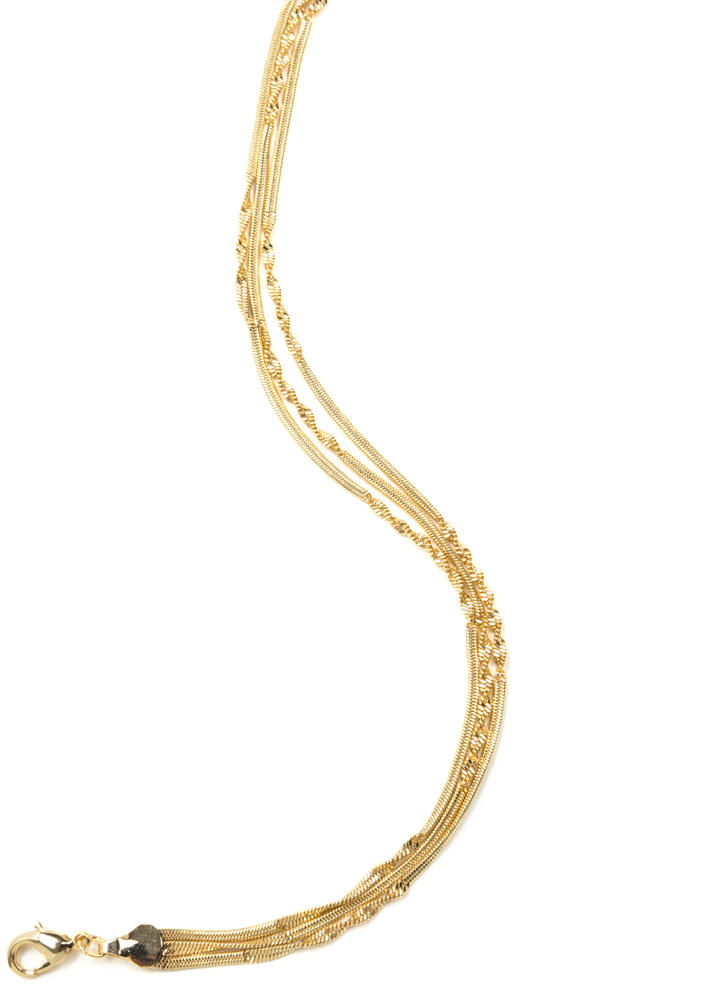 Twist Off Triple Chain Anklet GOLD