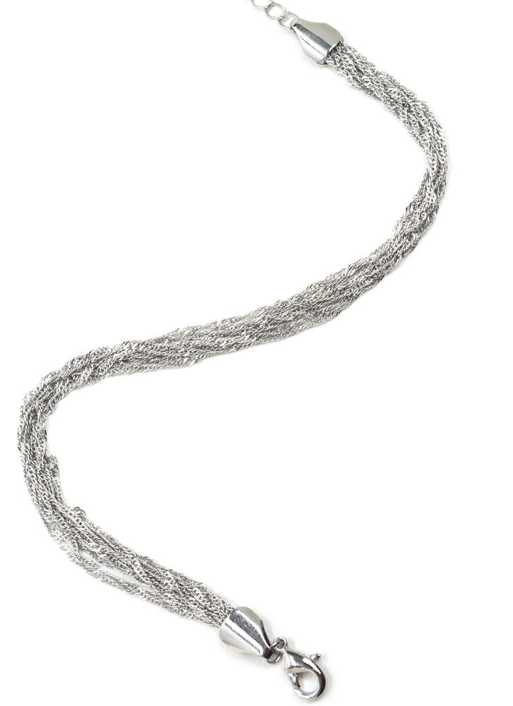 Stylish Twist Layered Chain Anklet SILVER