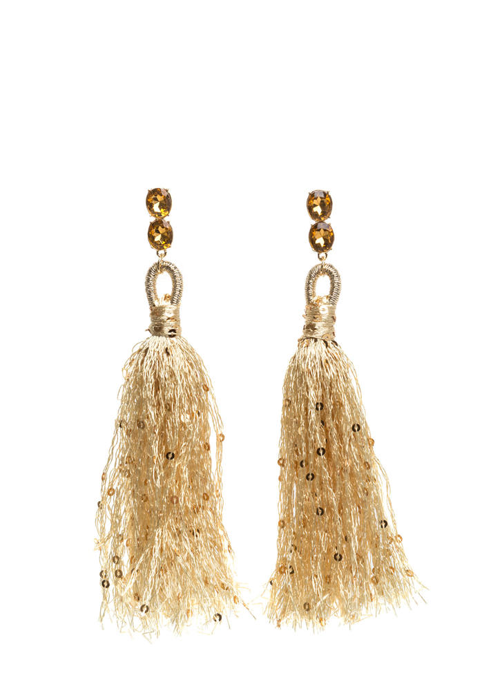 Next Sequins Jeweled Tassel Earrings