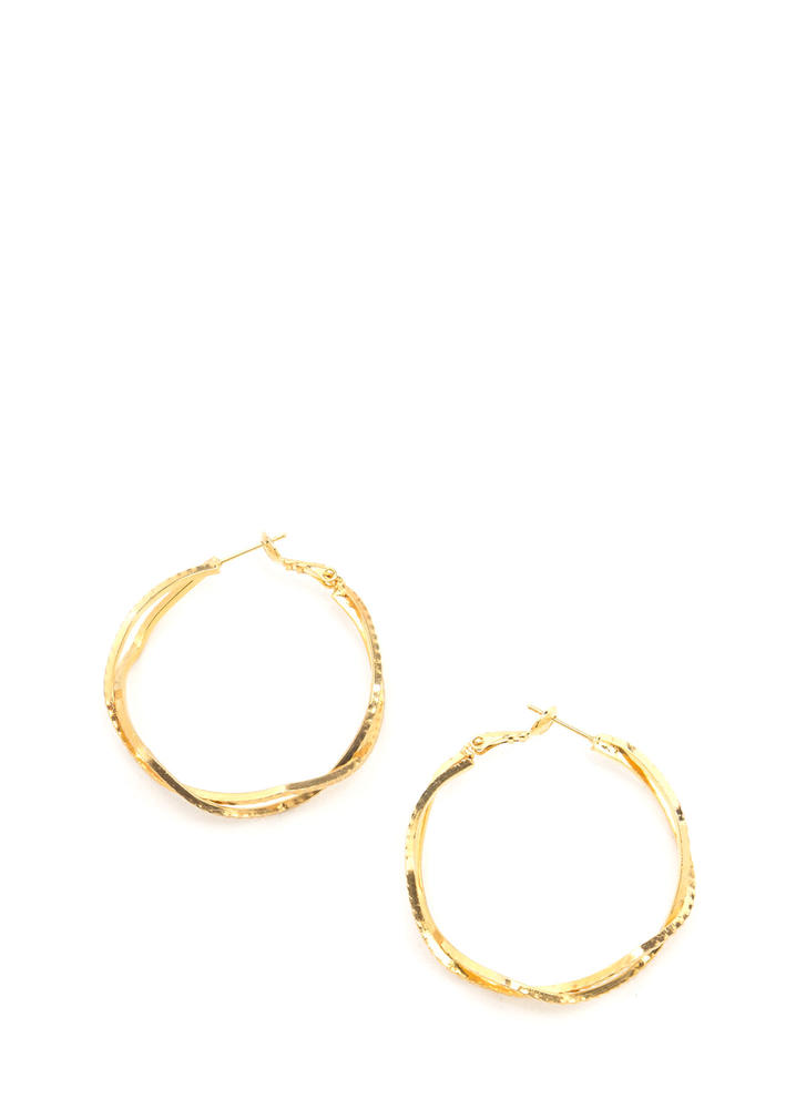 You Zig I Zag Ridged Hoop Earrings