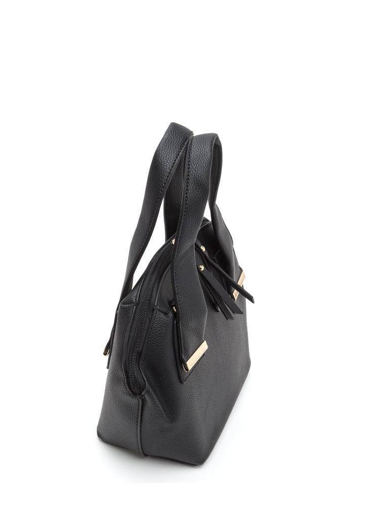 Finishing Touch Faux Leather Satchel BLACK (Final Sale)
