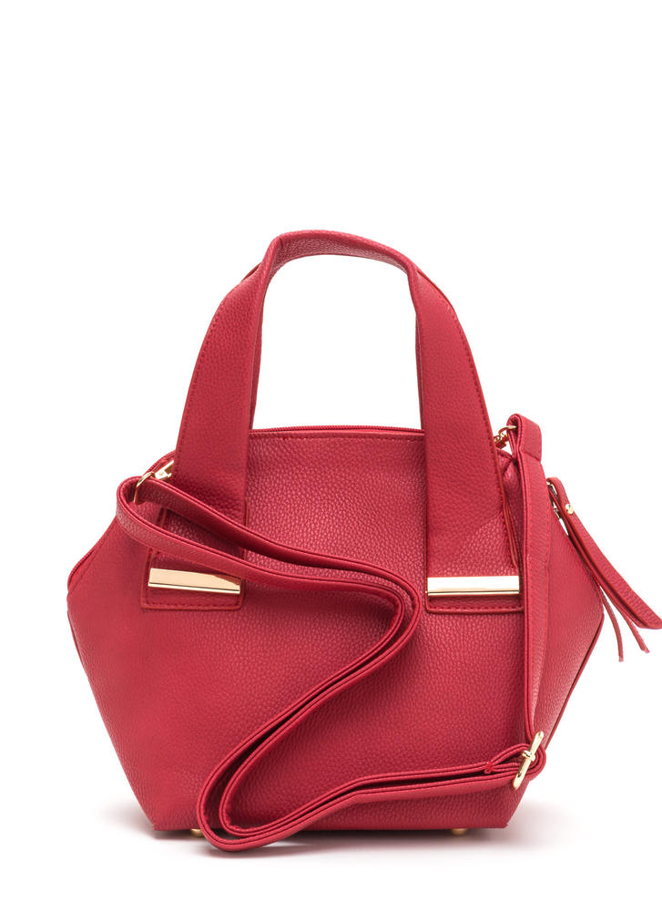 Finishing Touch Faux Leather Satchel RED