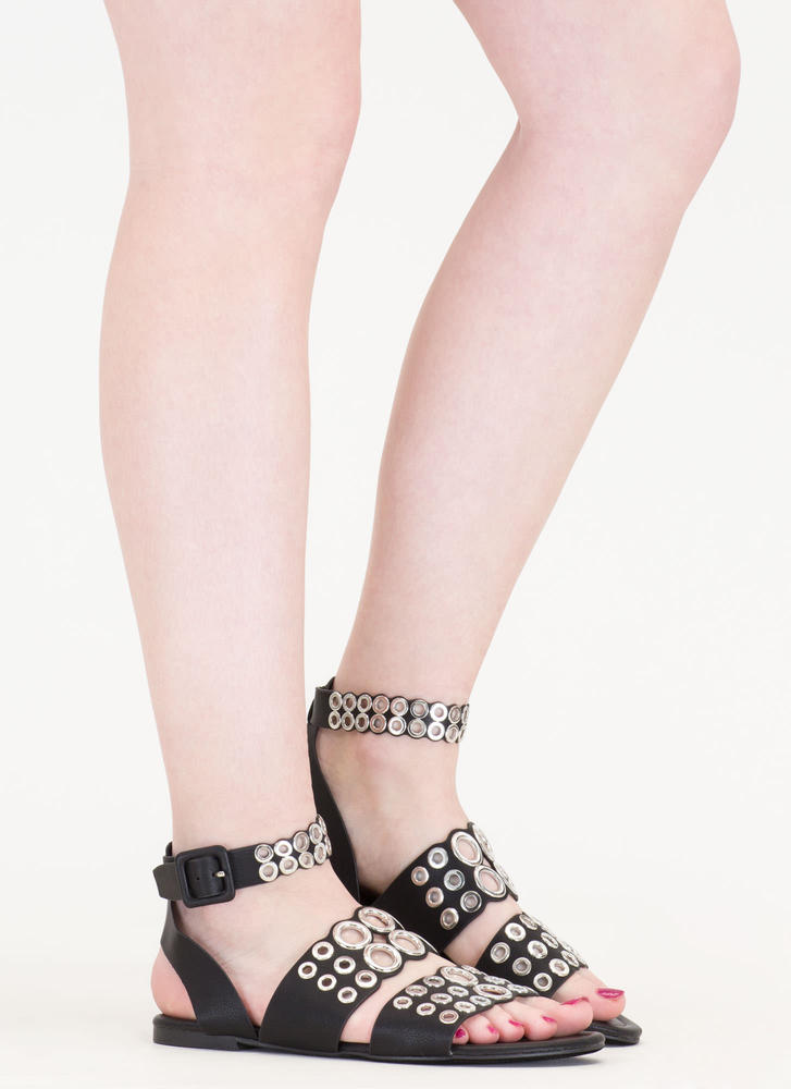 Hole Story Punched Grommet Sandals BLACK