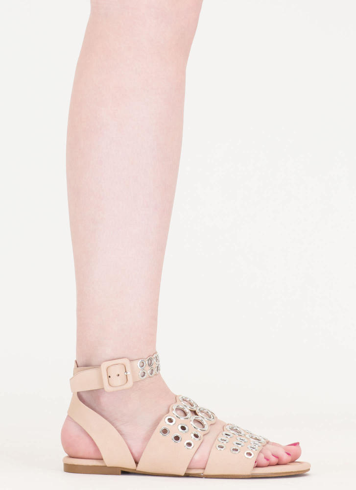 Hole Story Punched Grommet Sandals NUDE