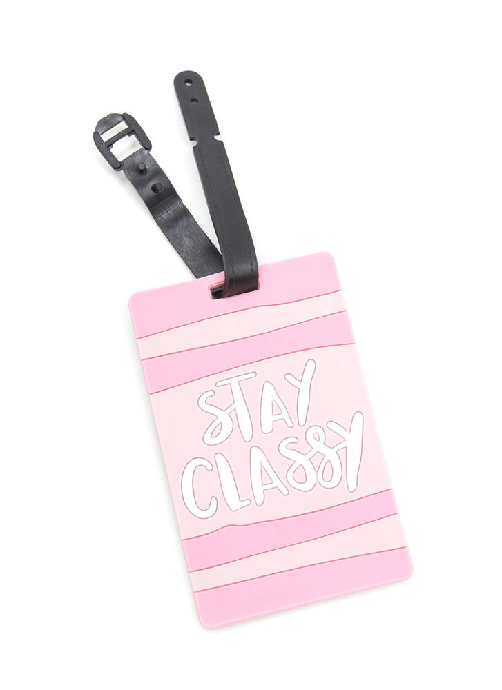 Stay Classy Striped Luggage Tag PINK