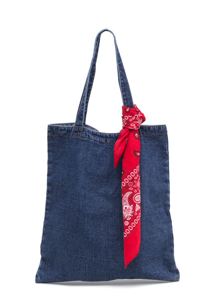 Carry On With Your Day Denim Tote Bag