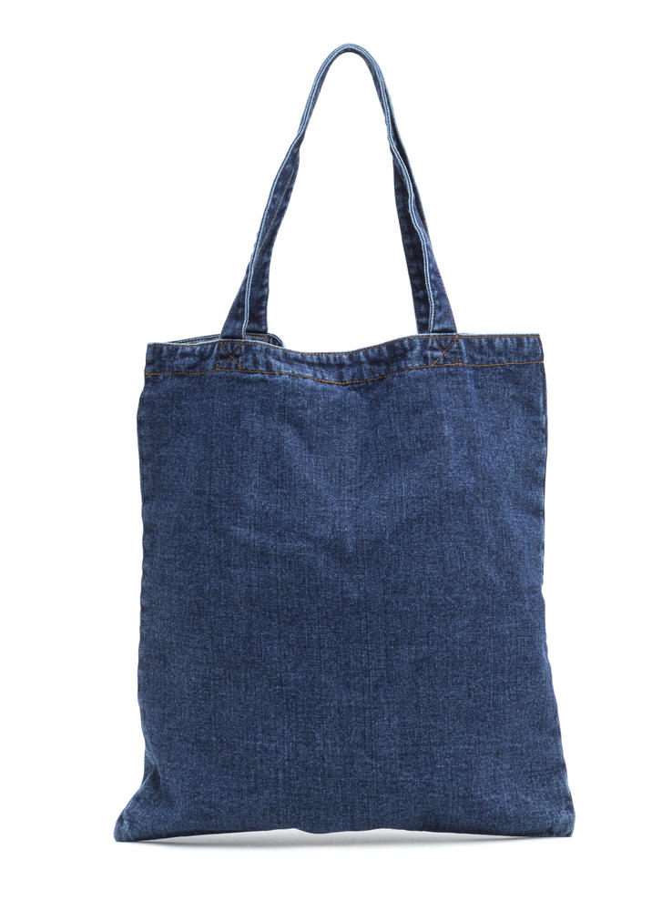 Carry On With Your Day Denim Tote Bag BLUE