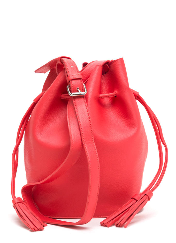 Luck Of The Drawstring Bucket Bag RED