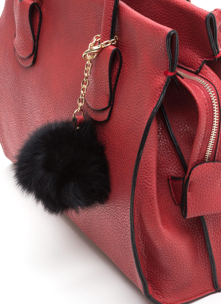 Pom Squad Structured Tote Bag RED