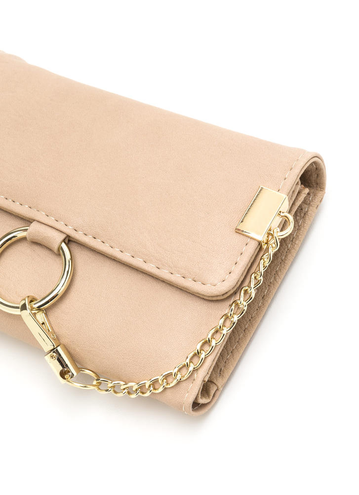 Chain Ring Action Foldover Wallet BEIGE