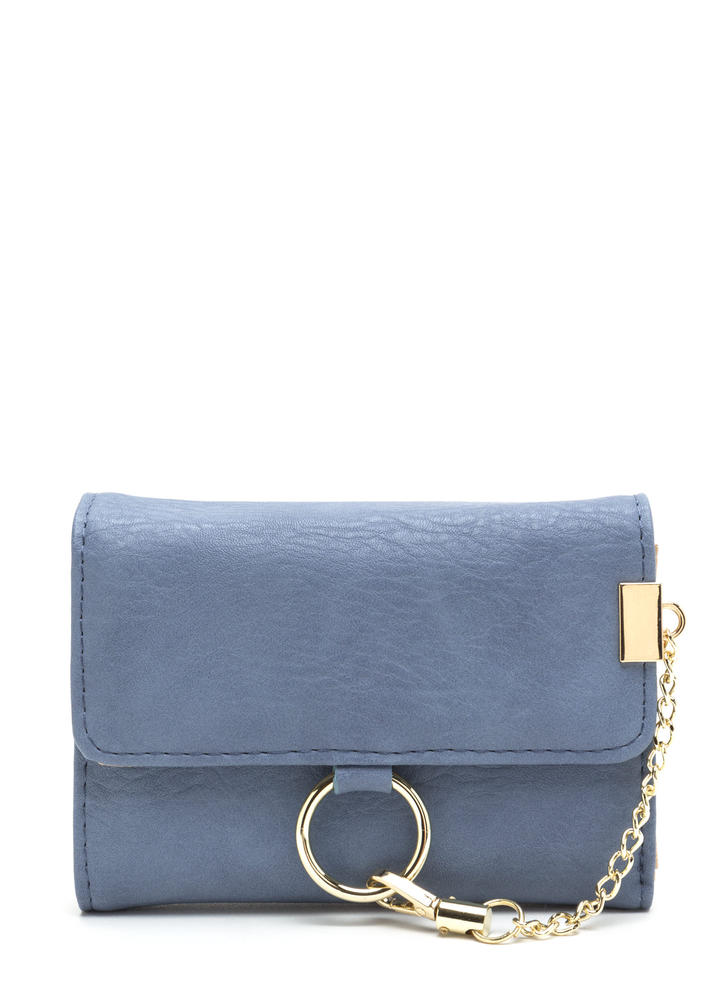 Chain Ring Action Foldover Wallet BLUE