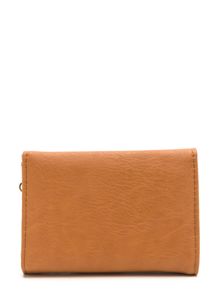 Chain Ring Action Foldover Wallet CAMEL