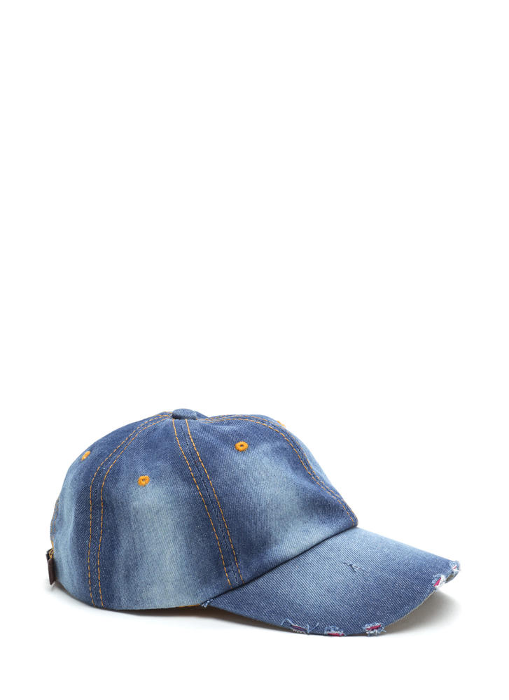Worn In Distressed Denim Cap BLUE