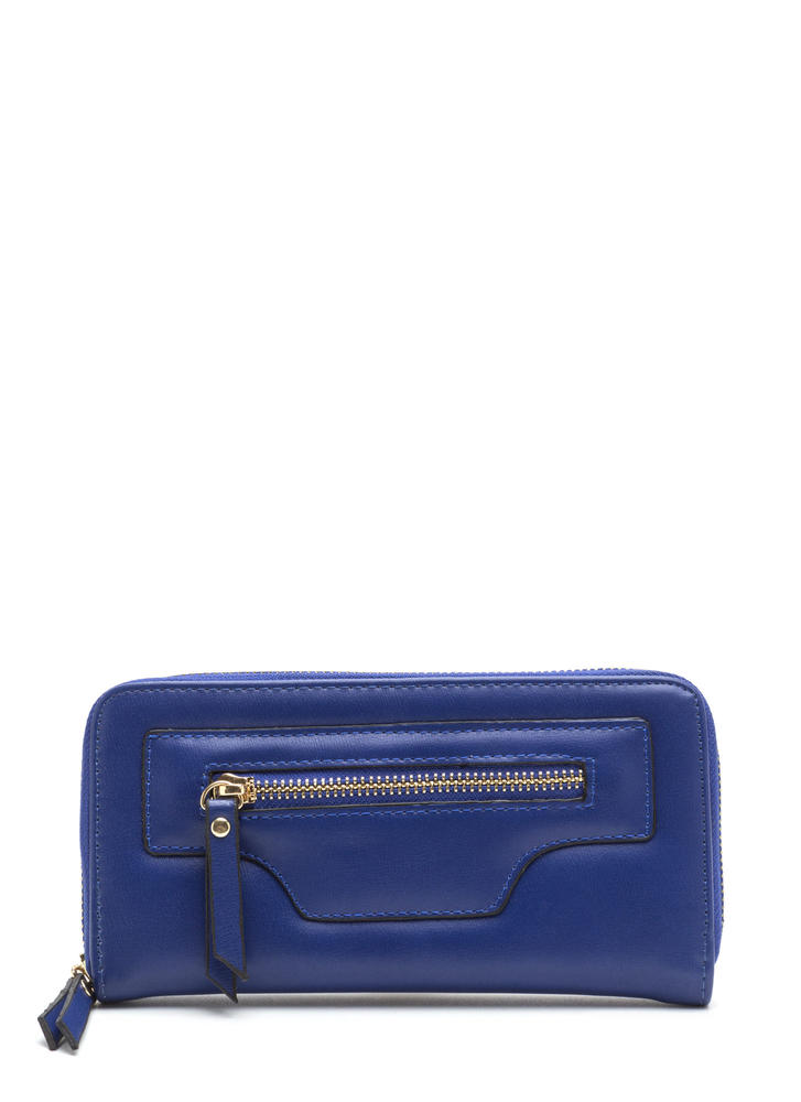 Zip Zip Hooray Faux Leather Wallet ROYAL