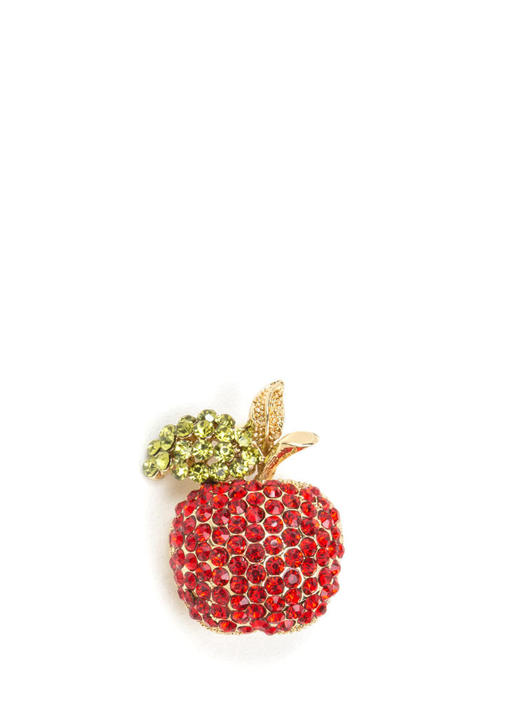 An Apple A Day Jeweled Brooch GOLD