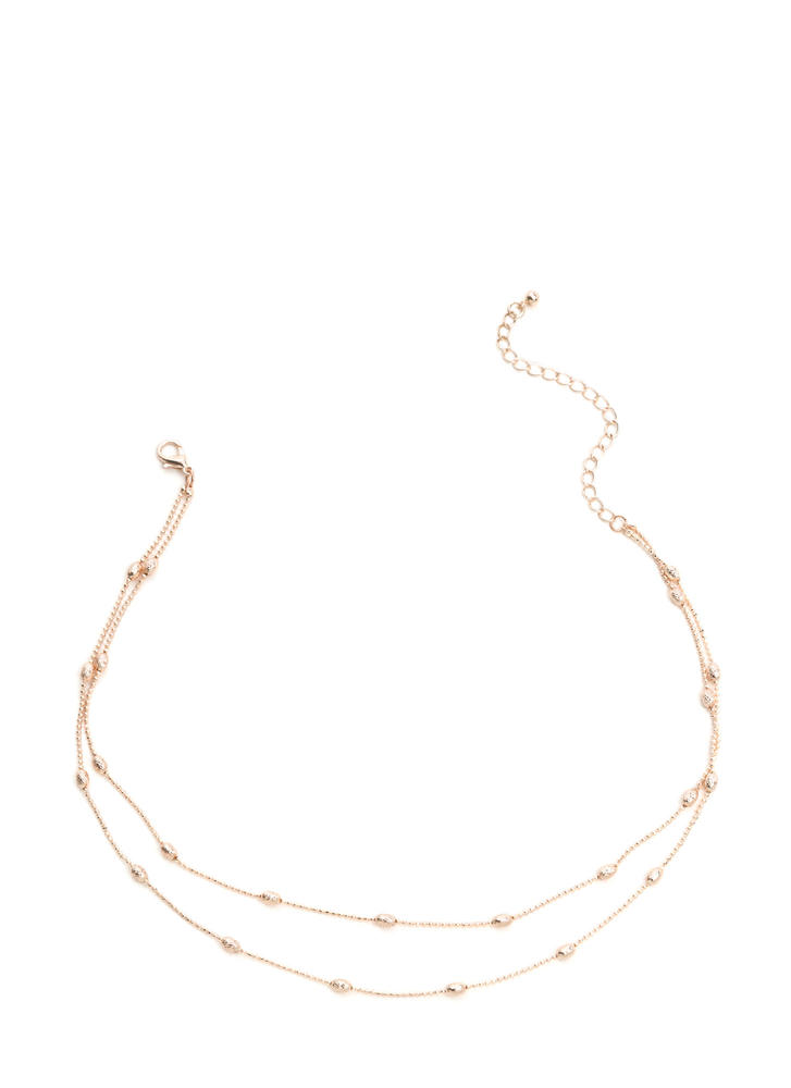 Good Egg Beaded Double Strand Necklace ROSEGOLD