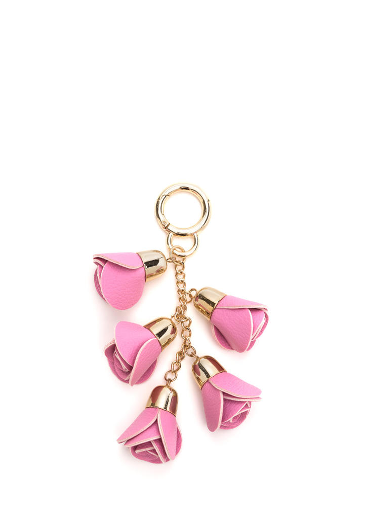 Bouquet Of Roses Chained Keyring PINKGOLD