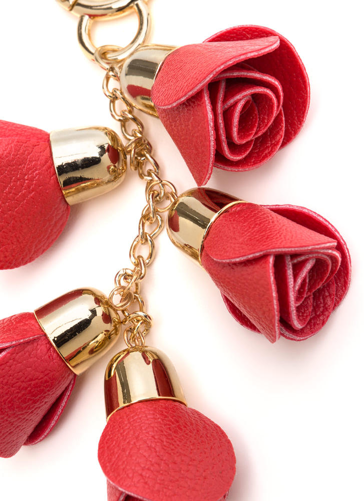 Bouquet Of Roses Chained Keyring REDGOLD