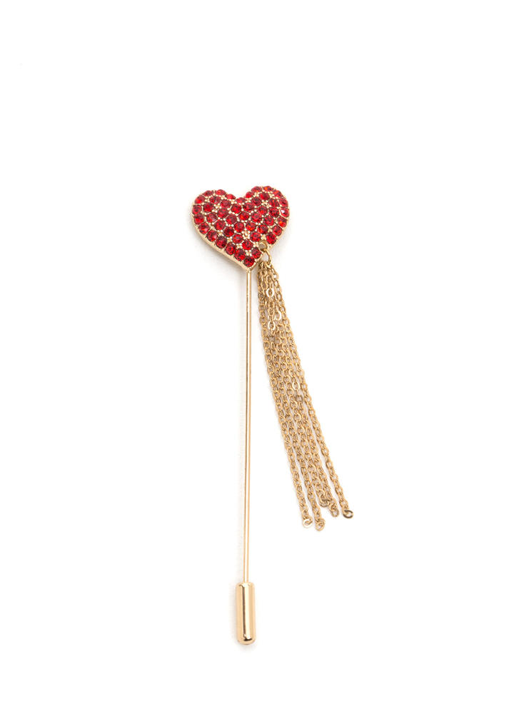 Love Chain Jeweled Heart Brooch GOLD