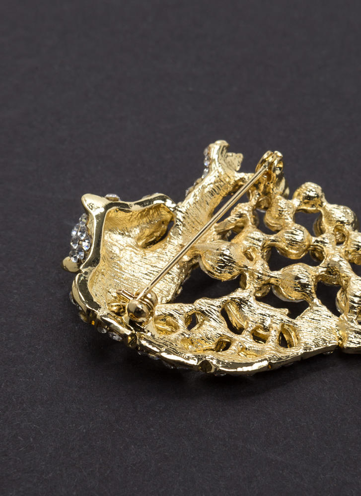 Wild Thing Jeweled Leopard Brooch GOLD