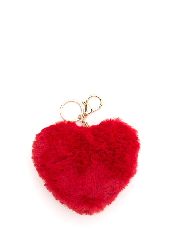 Wear Your Heart Furry Keychain REDGOLD