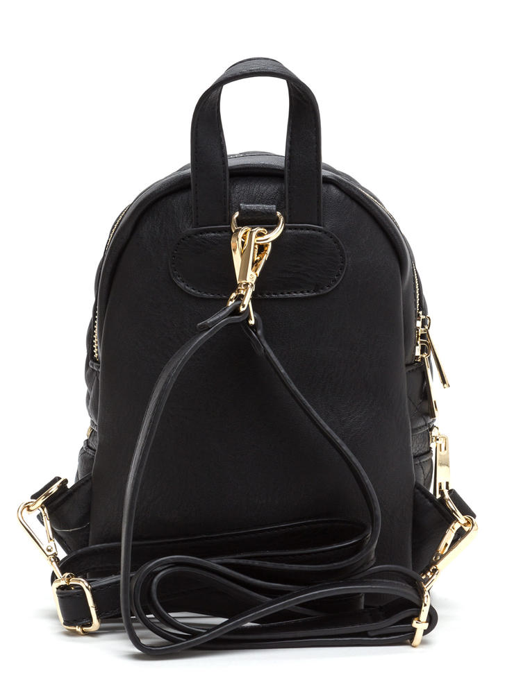 Quilted Cool Faux Leather Mini Backpack BLACK