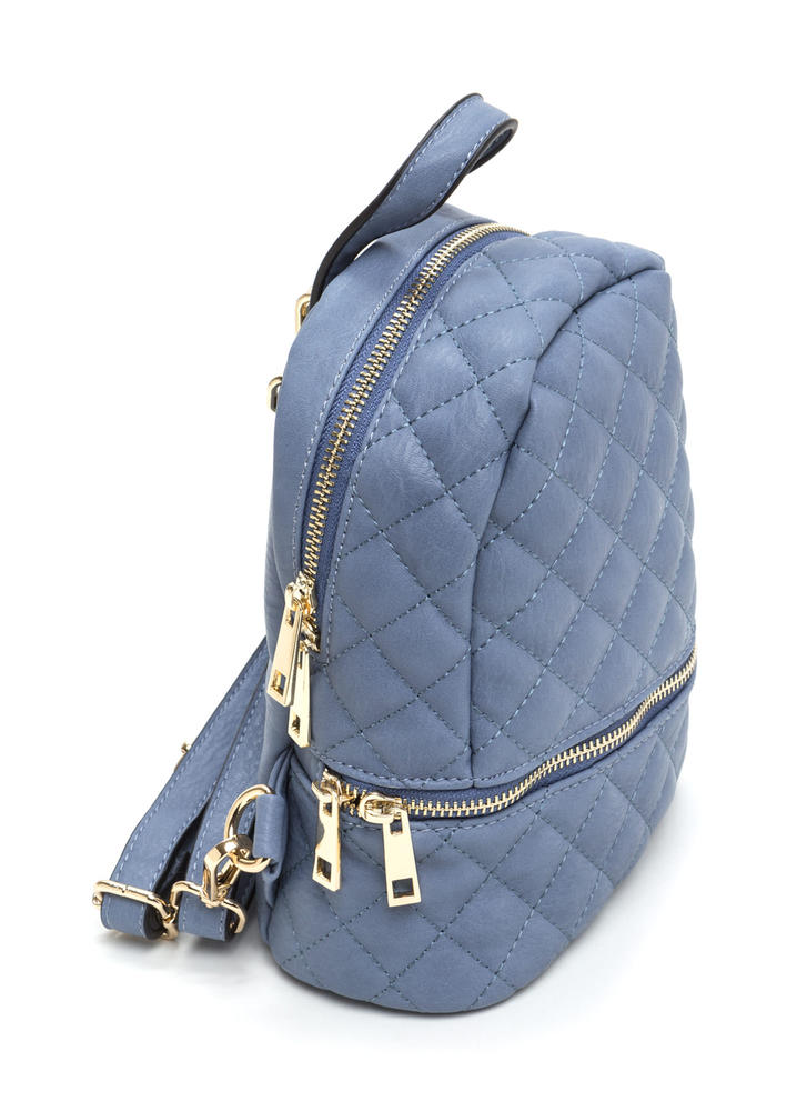 Quilted Cool Faux Leather Mini Backpack BLUE