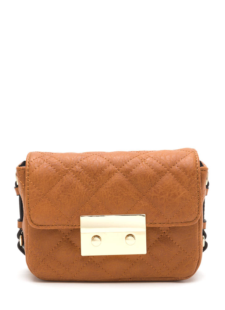 Find Me Quilty Studded Stitched Bag TAN
