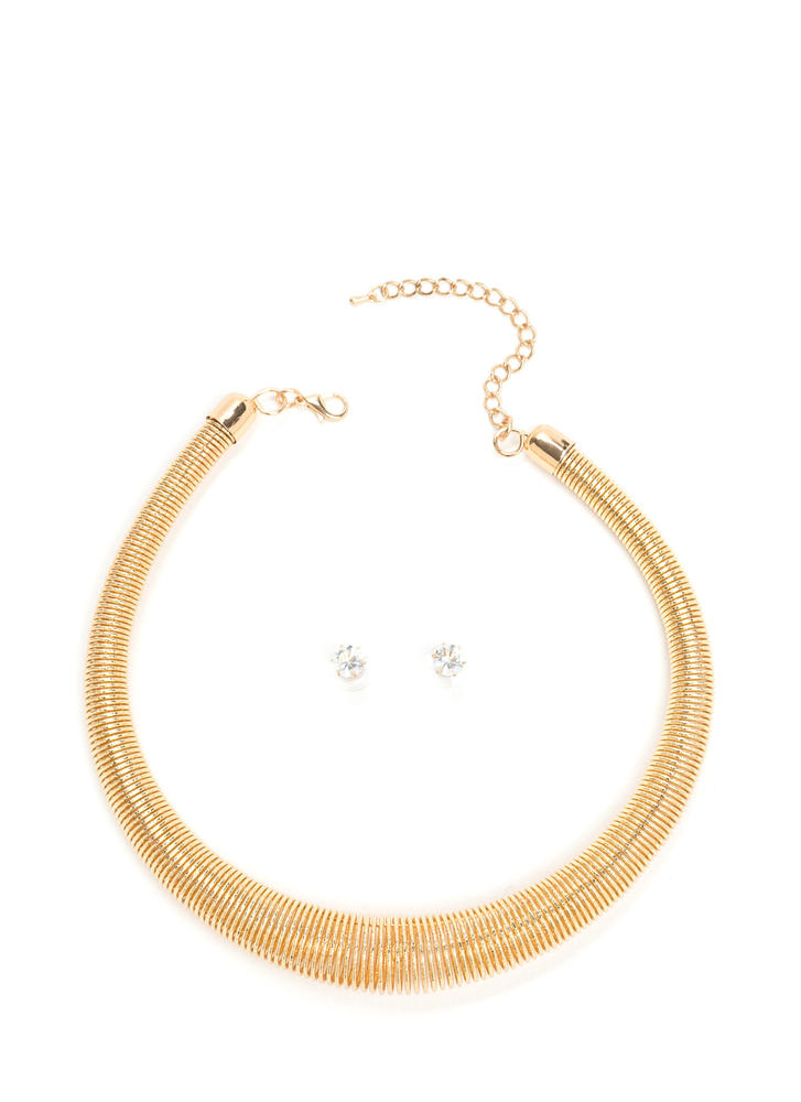 Get Collared Coiled Necklace Set