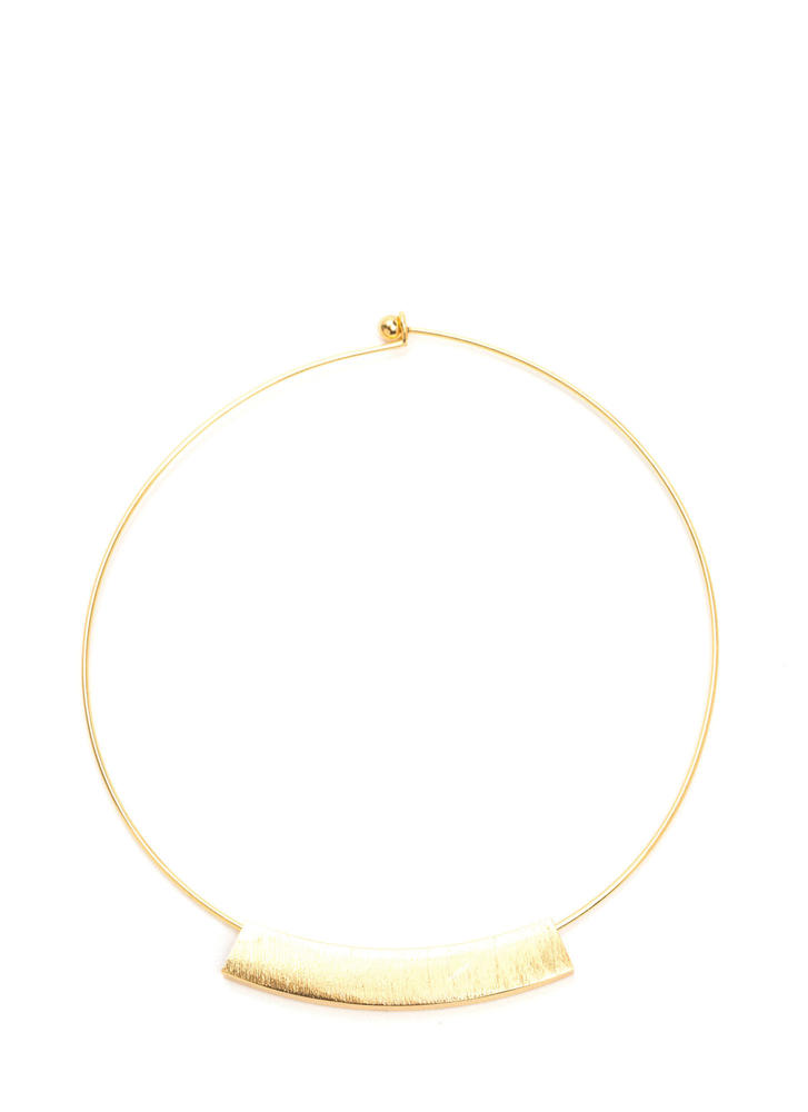 Subtle Curves Brushed Charm Choker GOLD