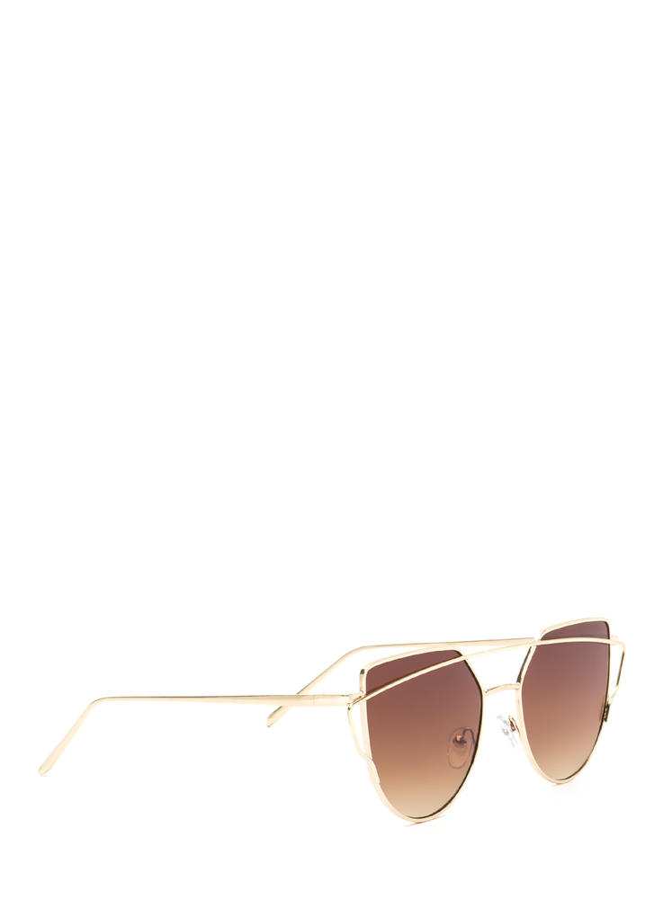 Chic Sophistication Brow Bar Sunglasses BROWNGOLD