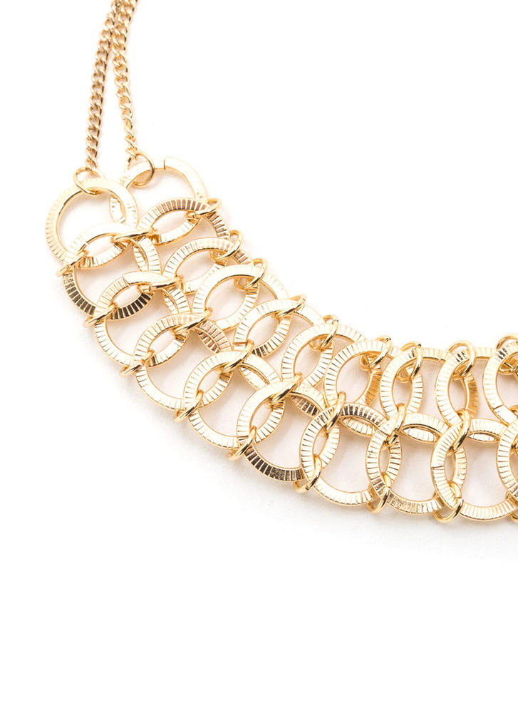 Ring Leader Linked Charm Necklace GOLD