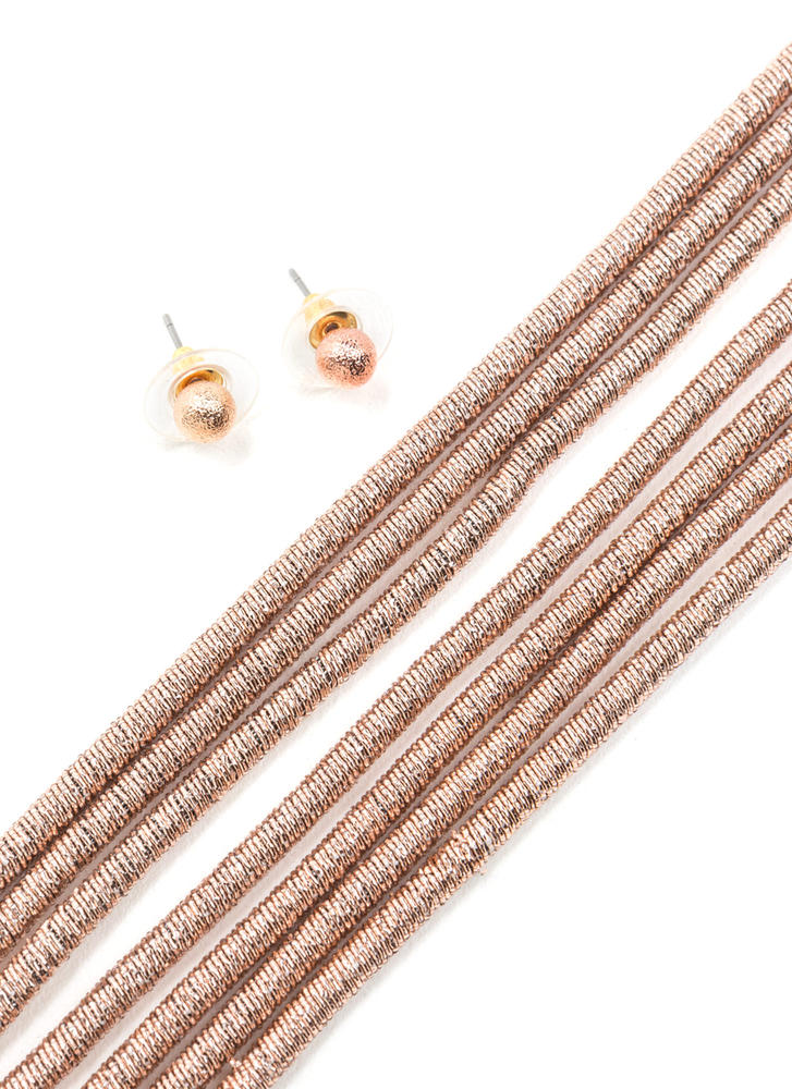 Double Double Coiled Necklace Set ROSEGOLD
