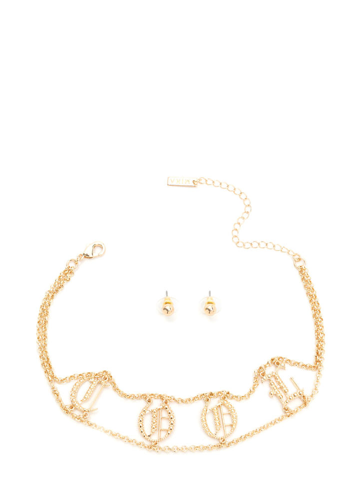 Way Too Cool Charm Necklace Set GOLD