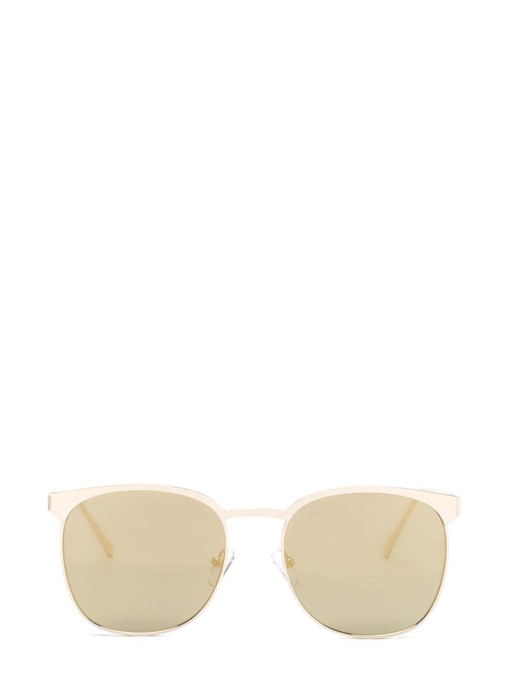 Reflect On It Rounded Sunglasses GOLD
