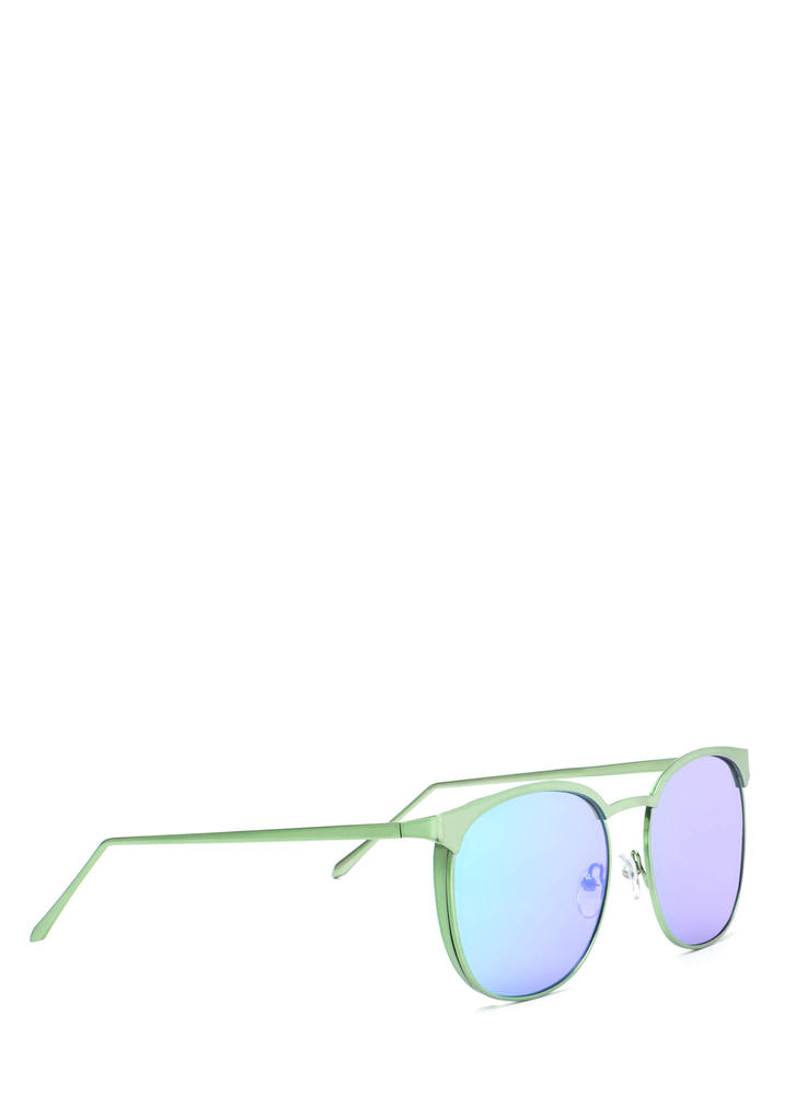 Reflect On It Rounded Sunglasses GREEN