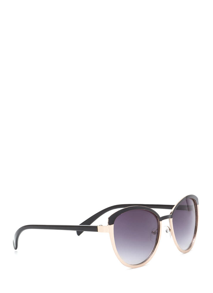Around The Colorblock Rounded Sunglasses BLACKGOLD
